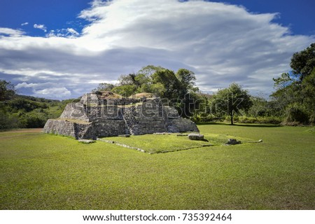 Pyramids at the archaeological site of Tenam Puente near the town of Comitan De Domingues in Chiapas, Mexico