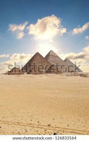 pyramids in giza - stock photo