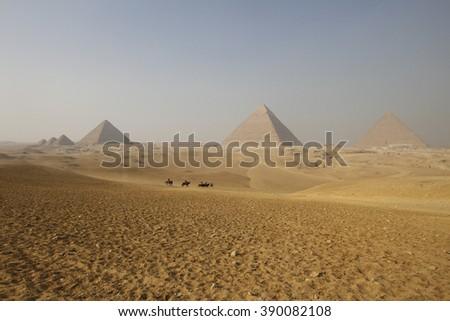 Pyramids in Giza, Cairo - stock photo
