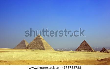 pyramids in Giza-Egypt  - stock photo
