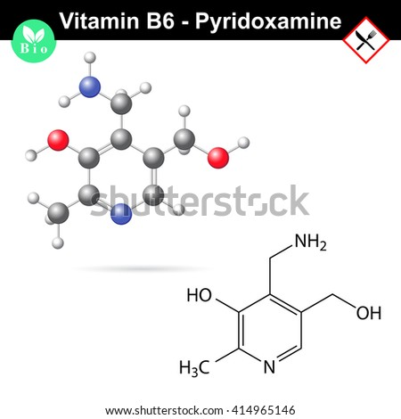 Pyridoxamine Chemical Formula Model Vitamin B 6 Stock Illustration