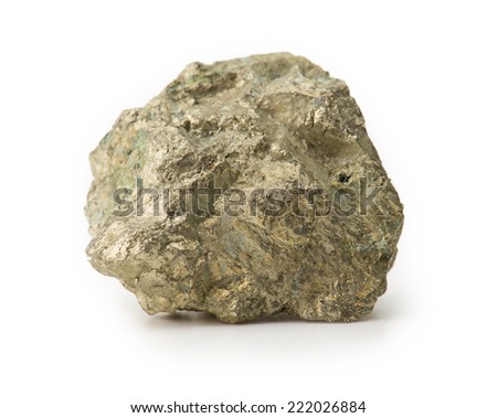 "Pyrite, also known as  ""Fool's gold, isolated on white."