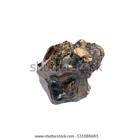 Pyrite crystal on a white background