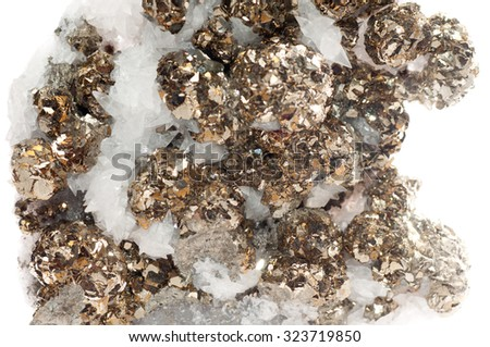 pyrite or fool's gold mineral sample in quartz - stock photo