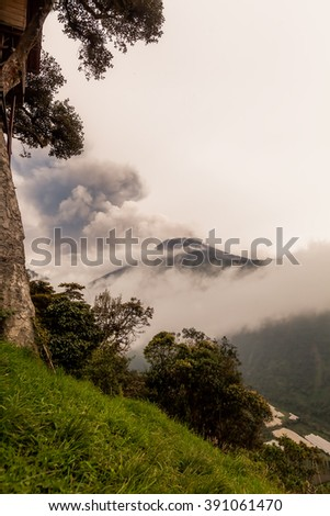 Pyroclastic Powerful Explosion Over Tungurahua Volcano On March 2016, View From Casa Del Arbol, Tree House, Ecuador, South America  - stock photo