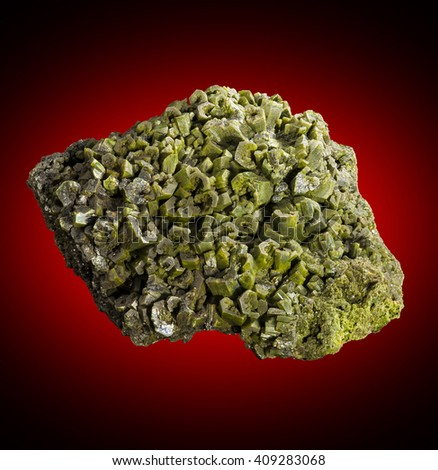 Pyromorphite from the Phoenixville district, Schuylkill Township, Chester County, PA.  This  is a mineral species composed of lead chlorophosphate with crystals in the form of a hexagonal prism. - stock photo