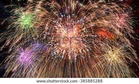 pyrotechnics exploding - stock photo