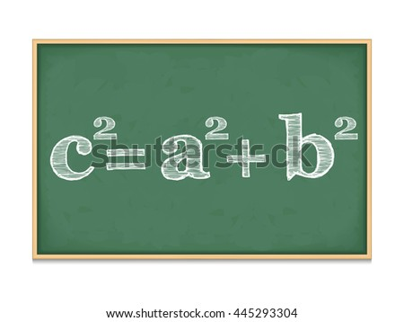 Pythagoras' theorem on blackboard - stock photo