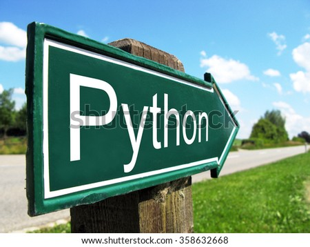 Python (programming language) signpost along a rural road