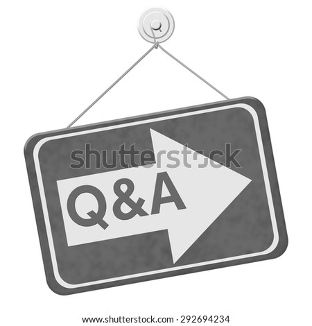 Q&A This Way Sign,  A gray sign with the word Q&A with an arrow isolated on a white background - stock photo