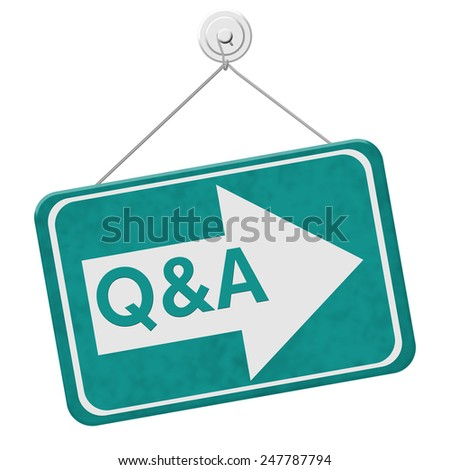Q&A This Way Sign,  A teal sign with the word Q&A with an arrow isolated on a white background - stock photo