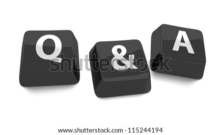 Q&A written in white on black computer keys. 3d illustration. Isolated background. - stock photo