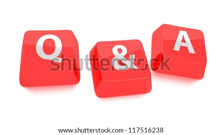 Q&A written in white on red computer keys. 3d illustration. Isolated background. - stock photo