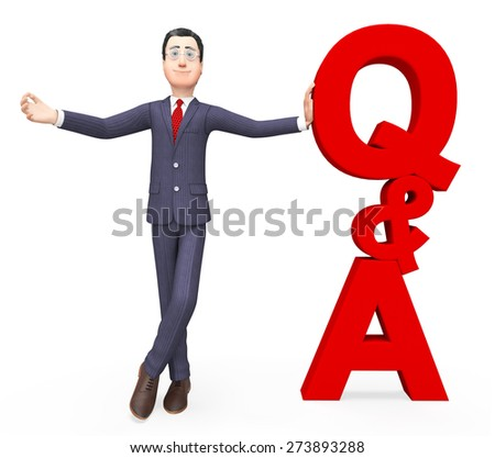 Q And A Showing Frequently Asked Questions And Business Man - stock photo