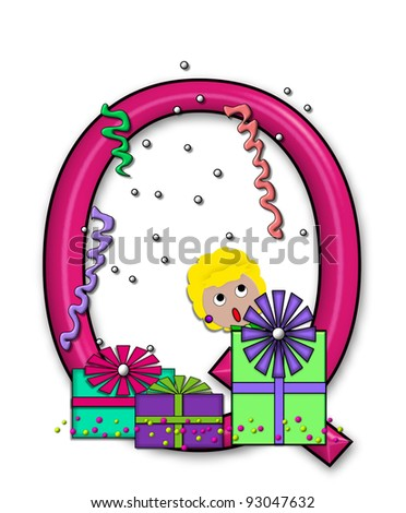 """Q, in the alphabet set """"Birthday Letters"""", is surrounded by colorfully wrapped presents complete with bows.  Woman hides behind presents and peeks out pretending surprise. - stock photo"""