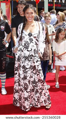 "Q'orianka Kilcher attends the Los Angeles Premiere of ""Kung Fu Panda"" held at the Grauman's Chinese Theater in Hollywood, California, United States on June 1, 2008. - stock photo"