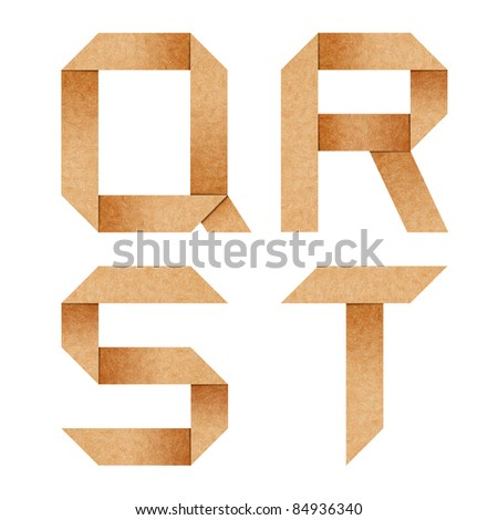 Q,R,S,T Origami alphabet letters from recycled paper with clipping path - stock photo