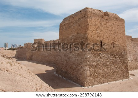 Qal'At Al Bahrain is the original capital and port of the island of Bahrain. It is part of UNESCO World Heritage - stock photo