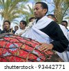 QASER EL YAHUD, ISRAEL - JAN 19 : Unidentified Ethiopian orthodox Christians  participates in the baptizing ritual during the epiphany at Qaser el yahud, Israel in January 19, 2012 - stock photo
