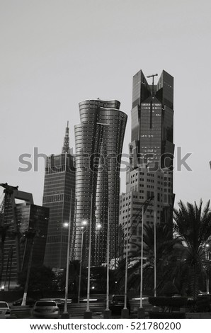 Qatar doha on 17th November 2016:black and white photography of doha qatar at night. Editorial use only.