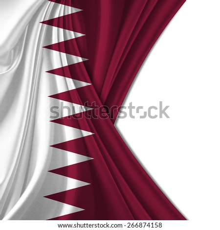 Qatar flag and white background - stock photo