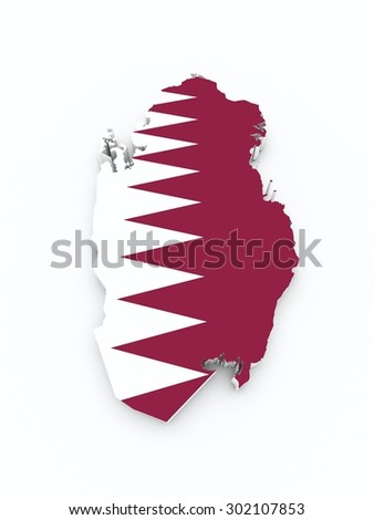 qatar flag on 3d map