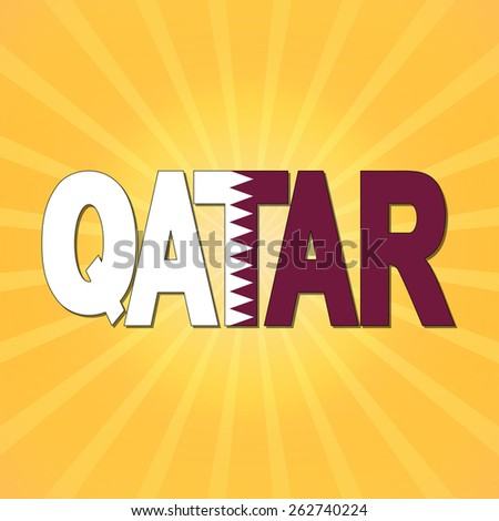 Qatar flag text with sunburst illustration - stock photo