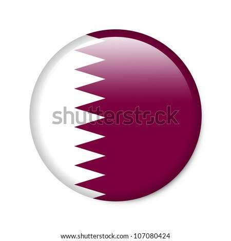Qatar - glossy button with flag - stock photo