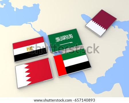 Qatar Political Conflict Saudi Arabia Egypt Stock Illustration - Map of egypt and uae