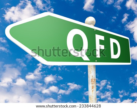 QFD - Quality Function Deployment - street sign illustration in front of blue sky with clouds. - stock photo