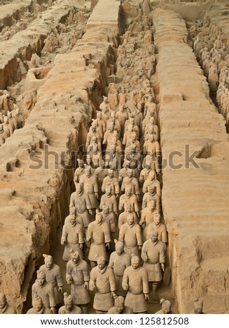 Qin dynasty Terracotta Army, Xi'an, China - stock photo