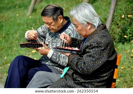 Qingbaijiang, China - October 28, 2010:  Husband and wife eating their simple lunch sitting on a park bench in the gardens of the 2010 Phoenix Lake Park Chrysanthemum Exposition - stock photo