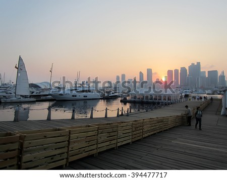 Qingdao City - May 22, 2015: Shandong Qingdao Olympic sailing center on May 22, 2015, Qingdao City, shandong province, China