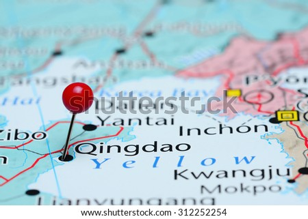 Qingdao pinned on a map of Asia  - stock photo