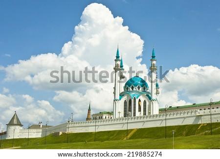 Qol Sharif mosque in Kremlin fortress in town Kazan, capital of republic Tatarstan in Russia, UNESCO World Heritage Site. - stock photo