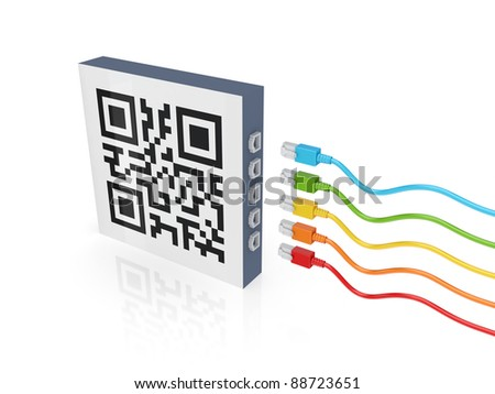 QR code and colorful patch cords.Isolated on white background.3d rendered. - stock photo