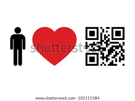 QR Code design concept 'People Love QR Code'. Raster version. - stock photo