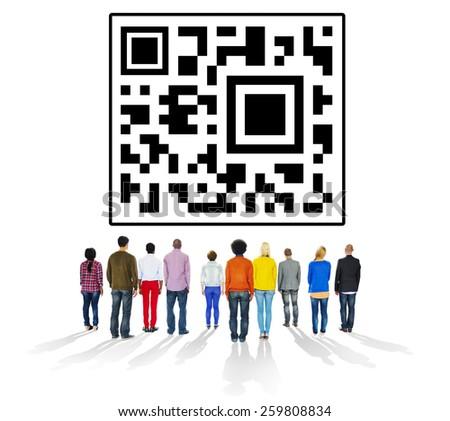 QR Code Encoding Technology Online Internet Concept - stock photo