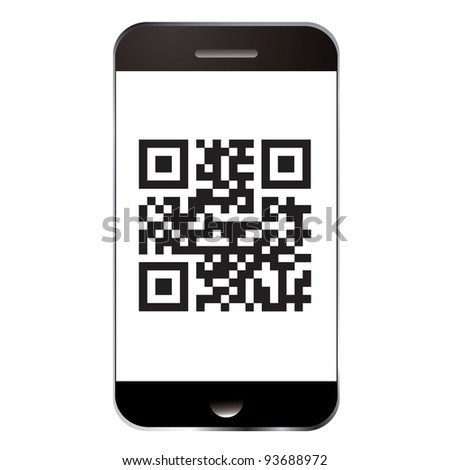 Qr code for scanning with smart mobile or cell phone - stock photo