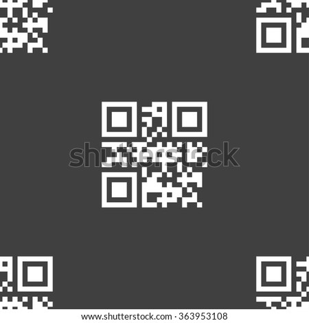 Qr code icon sign. Seamless pattern on a gray background. illustration