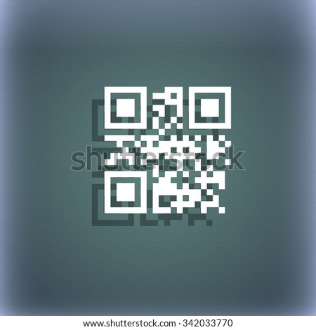 Qr code icon symbol on the blue-green abstract background with shadow and space for your text. illustration