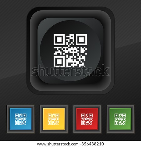 Qr code icon symbol. Set of five colorful, stylish buttons on black texture for your design. illustration