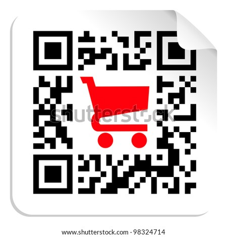 QR code label sign with red shopping cart icon. - stock photo