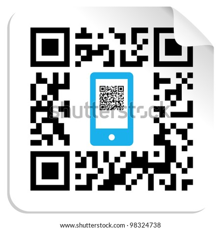 QR code label with the blue mobile icon. - stock photo