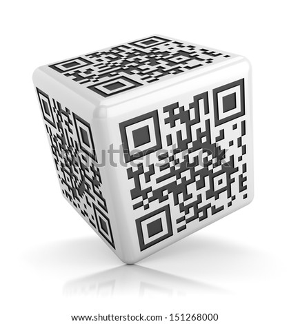 QR code on glossy cube isolated on white background with reflection effect. Business and electronic commerce technology concept.