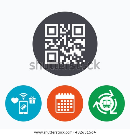 Qr code sign icon. Scan code symbol. Coded word - success! Mobile payments, calendar and wifi icons. Bus shuttle. - stock photo