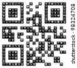 QR code sign made with the social media icons set in black and white. - stock photo