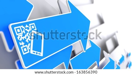 QR Code with Smartphone Icon on Blue Arrow on a Grey Background. - stock photo