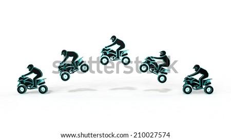 Quad bike on a white background - stock photo