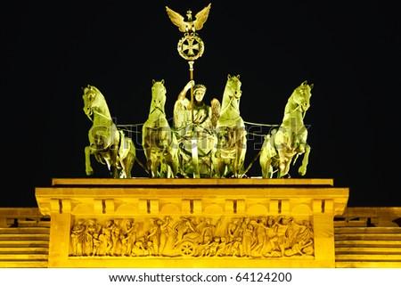 Quadriga on Brandenburg gate in Berlin - stock photo